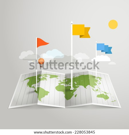 World map with different marks. Design elements - stock vector