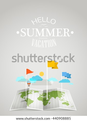 World map with different marks. Summer travel concept - stock vector