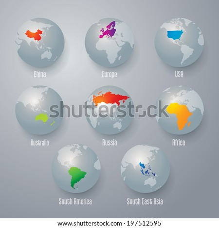 World map with earth globes. - stock vector