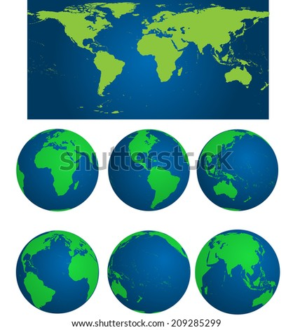 World map with earth globes  - stock vector