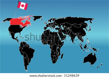 World map with flag of Canada