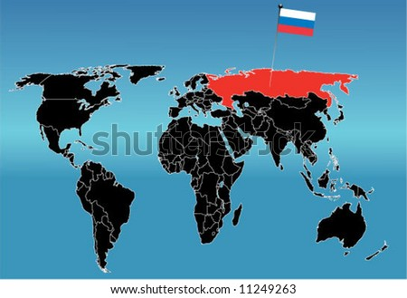 World map with flag of Russia