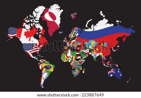 World map with flag on black background - stock vector
