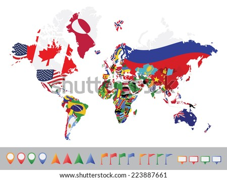 World map with flag on white background - stock vector