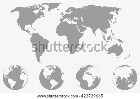 World  map with four globe icons from different sides. Stylized geometric flat vector