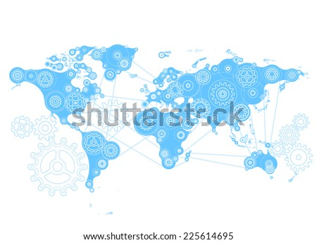 World map with gears. Eps8. RGB. Organized by layers. Global color. Gradients free. - stock vector