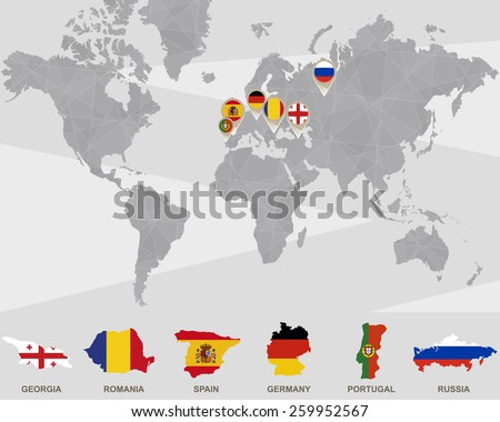World map georgia romania spain germany stock photo photo vector world map with georgia romania spain germany portugal russia pointers gumiabroncs Gallery