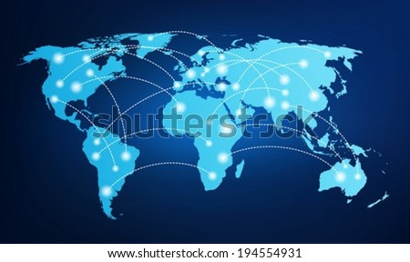 World map with global connections - stock vector