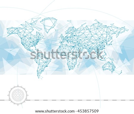 World map with global network connection lines. - stock vector