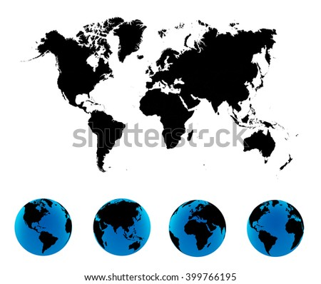 World Map with Globes detailed editable. Vector illustration.