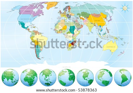 World map globes detailed editable vector stock vector royalty free world map with globes detailed editable vector include all names of countries and capitals gumiabroncs Choice Image