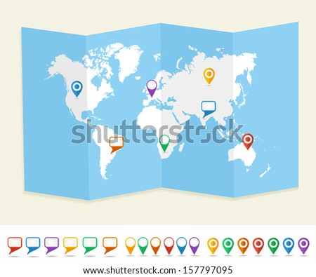 World map with GPS location pins and social media speech bubbles travel Earth. EPS10 vector file organized in layers for easy editing. - stock vector