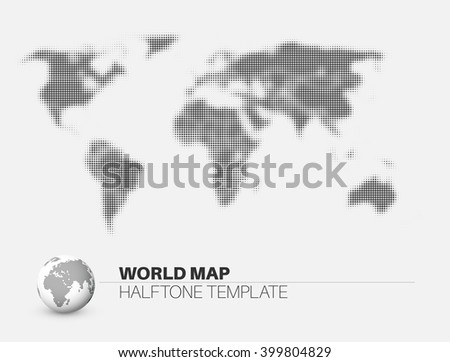 World map with Halftone effect infographic template. - stock vector