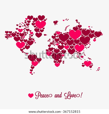World map with hearts. Valentine's day. - stock vector