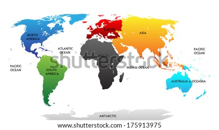 World map with highlighted continents in different colors. All labels are in the separate layer. - stock vector