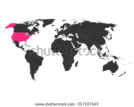 World map with highlighted United States of America. Simlified political vector map in dark grey and pink highlight. - stock vector