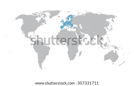 world map with indication of European Union - stock vector