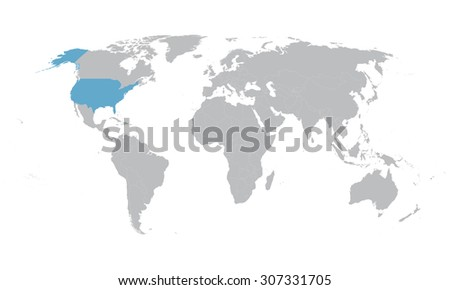 world map with indication of United States - stock vector