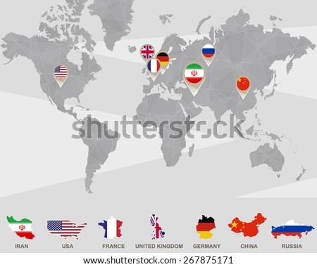 World map iran usa france uk stock vector 267875171 shutterstock world map with iran usa france uk germany china russia gumiabroncs Gallery