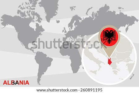 World map with magnified Albania. Albania flag and map. - stock vector