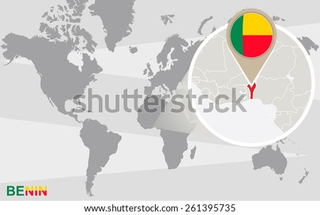 World map with magnified Benin. Benin flag and map. - stock vector