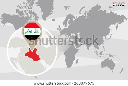World map with magnified Iraq. Iraq flag and map. - stock vector