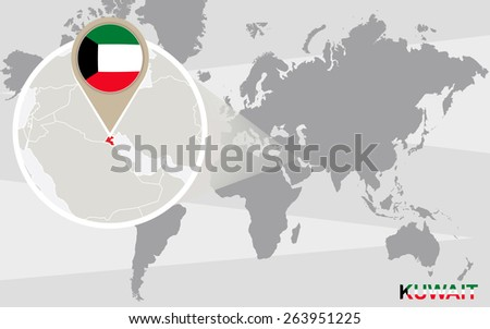 World map with magnified Kuwait. Kuwait flag and map. - stock vector