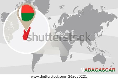 World map magnified madagascar madagascar flag stock vector world map with magnified madagascar madagascar flag and map gumiabroncs Gallery