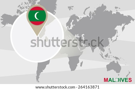 World map with magnified Maldives. Maldives flag and map. - stock vector