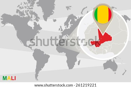 World map with magnified Mali. Mali flag and map. - stock vector