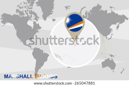 World map with magnified Marshall Islands. Marshall Islands flag and map. - stock vector