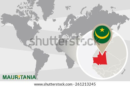 World map with magnified Mauritania. Mauritania flag and map. - stock vector