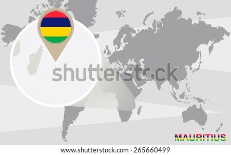 World map with magnified Mauritius. Mauritius flag and map. - stock vector