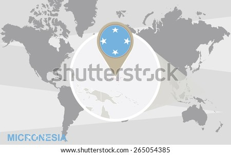 World map with magnified Micronesia. Micronesia flag and map. - stock vector