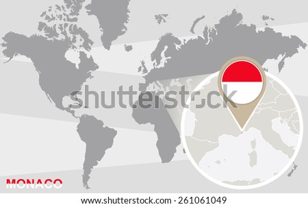 World map with magnified Monaco. Monaco flag and map. - stock vector