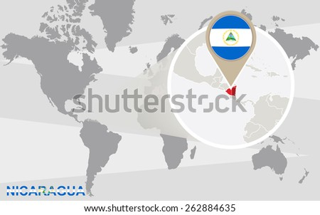 World map with magnified Nicaragua. Nicaragua flag and map. - stock vector