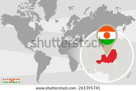 World map with magnified Niger. Niger flag and map. - stock vector