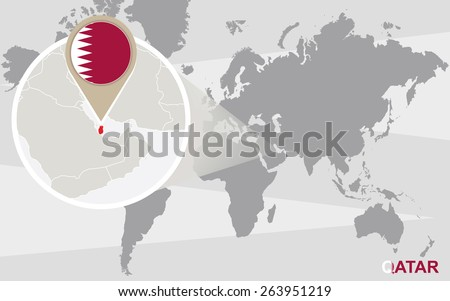 World map with magnified Qatar. Qatar flag and map. - stock vector