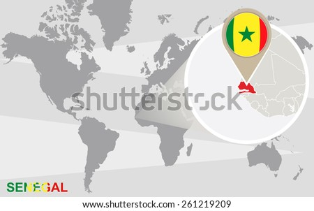 World map with magnified Senegal. Senegal flag and map. - stock vector