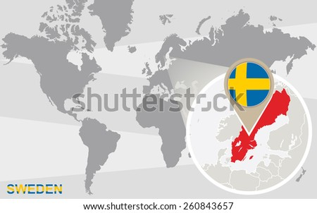 World Map Magnified Sweden Sweden Flag Stock Vector (Royalty Free ...