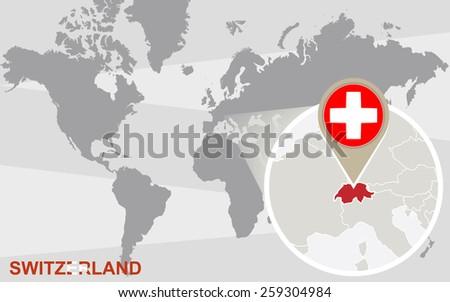 World map magnified switzerland switzerland flag stock vector world map with magnified switzerland switzerland flag and map gumiabroncs Choice Image