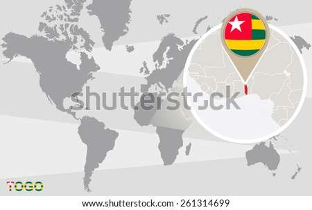 World map with magnified Togo. Togo flag and map. - stock vector
