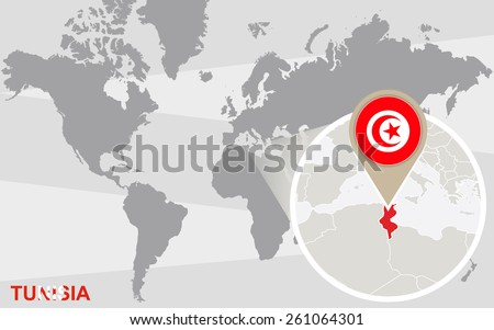 World map with magnified Tunisia. Tunisia flag and map. - stock vector