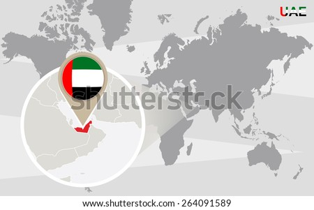 World map with magnified United Arab Emirates. UAE flag and map. - stock vector