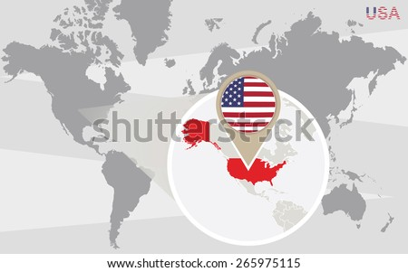 World map with magnified USA. USA flag and map. - stock vector