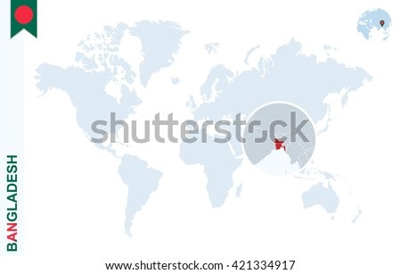 World map magnifying on bangladesh blue stock vector 421334917 world map with magnifying on bangladesh blue earth globe with bangladesh flag pin zoom gumiabroncs Gallery