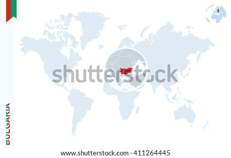 World map with magnifying on Bulgaria. Blue earth globe with Bulgaria flag pin. Zoom on Bulgaria map. Vector Illustration - stock vector