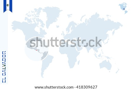 World Map Magnifying On El Salvador Stock Vector 418309627