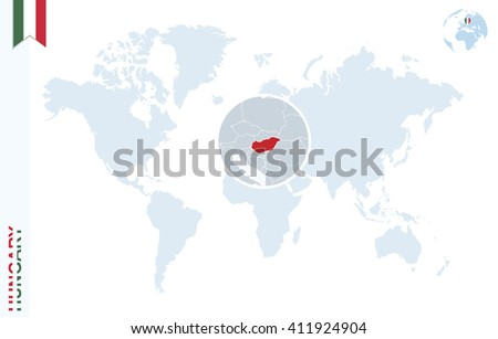 World Map Magnifying On Hungary Blue Stock Vector 411924904