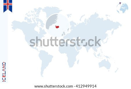 World map magnifying on iceland blue vectores en stock 412949914 world map with magnifying on iceland blue earth globe with iceland flag pin zoom gumiabroncs Image collections
